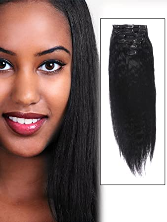 AbHair Cheap Real African American Long Clip In Remy Human Hair Extensions 18 Inch Jet Black