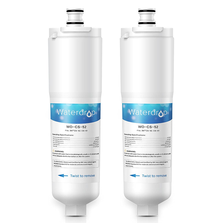 Waterdrop Refrigerator Water Filter, Compatible with 3M Cuno CS-52, CS-51, CS-452, CS-522, CS-532, CS-562, CS450, CS-512, W1085590, 56932, 2168701, 51000, 52000, Pack of 2 WD-CS-52