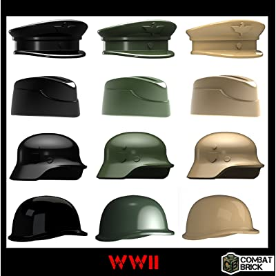 WWII Helmets and Headgear 12 Pack - Custom Army Builder Minifig Toy Accessories lot: Toys & Games