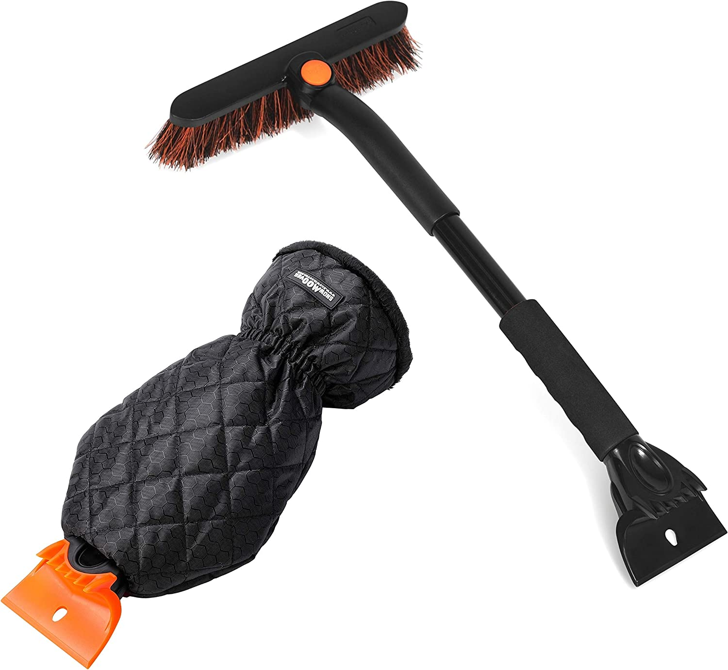 BIRDROCK HOME Compact Snow Brush and Ice Scraper Mitt Bundle - Car Windshield Ice and Snow Removal - Heavy Duty Ice Breaker and Scraper - Warm & Cozy Padded Glove - Durable Automotive Snow Brush