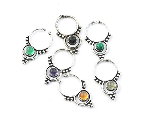 Tribal Septum Ring Boho Stone Septum Gemstone Septum Body Jewelry Faux Septum Ring Faux Nose Ring Fake Septum Ring Indian Nose Ring