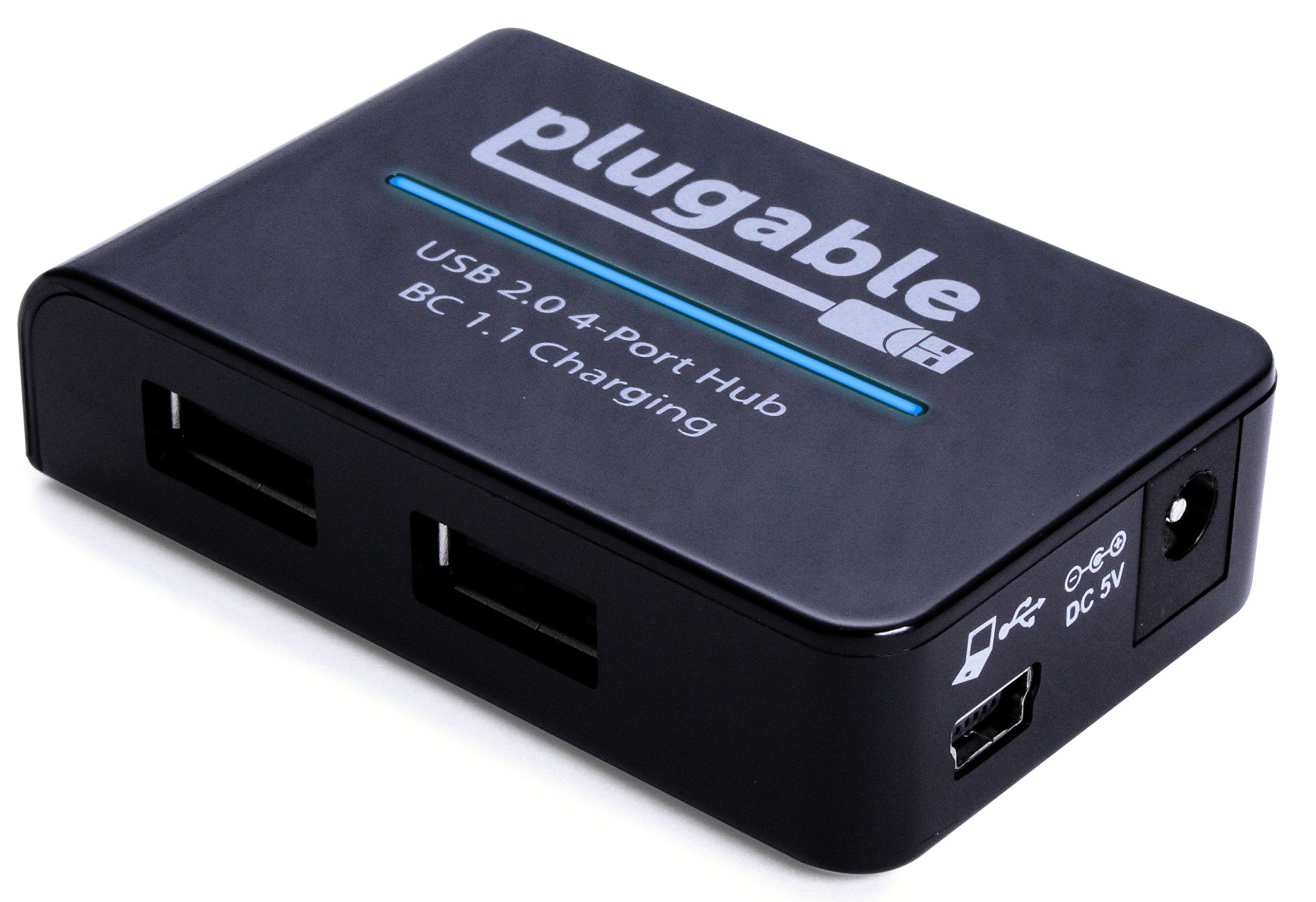 Plugable USB 2.0 4-Port High Speed Charging Hub with 12.5W Power Adapter