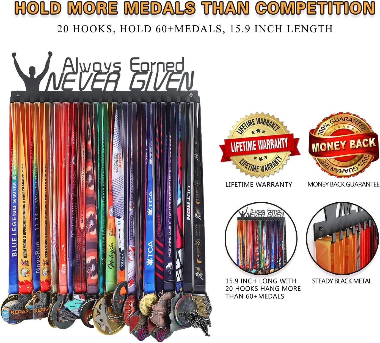 Race Medal Holder Display Marathon Running Medal Always Earned Hanger Rack
