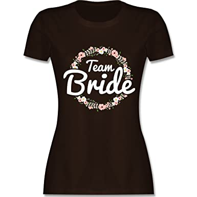 d7fe4c3ad5ae1e JGA Junggesellinnenabschied - Team Bride Blumenkranz - Damen T-Shirt  Rundhals  Shirtracer  Amazon.de  Bekleidung