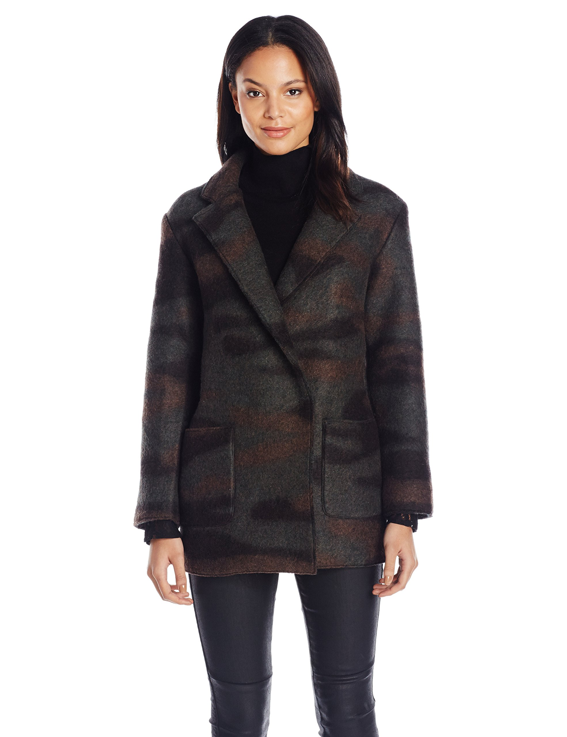 French Connection Women's Camo Felt Coat, Black/Multi, 10