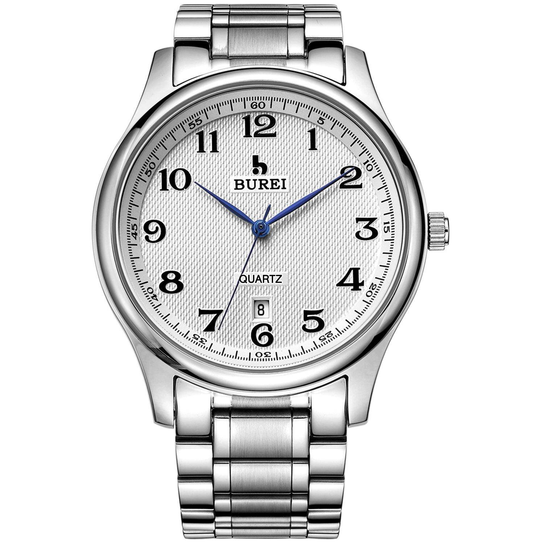 BUREI Men Women Quartz Watch Simple Analog Arabic Numerals Calendar Date with Silver Stainless Steel Band