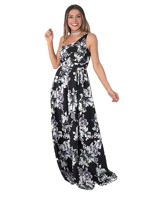 KRISP Vestido Mujer Fiesta Largo Talla Grande Flor Boda Noche Dama Honor Madrina