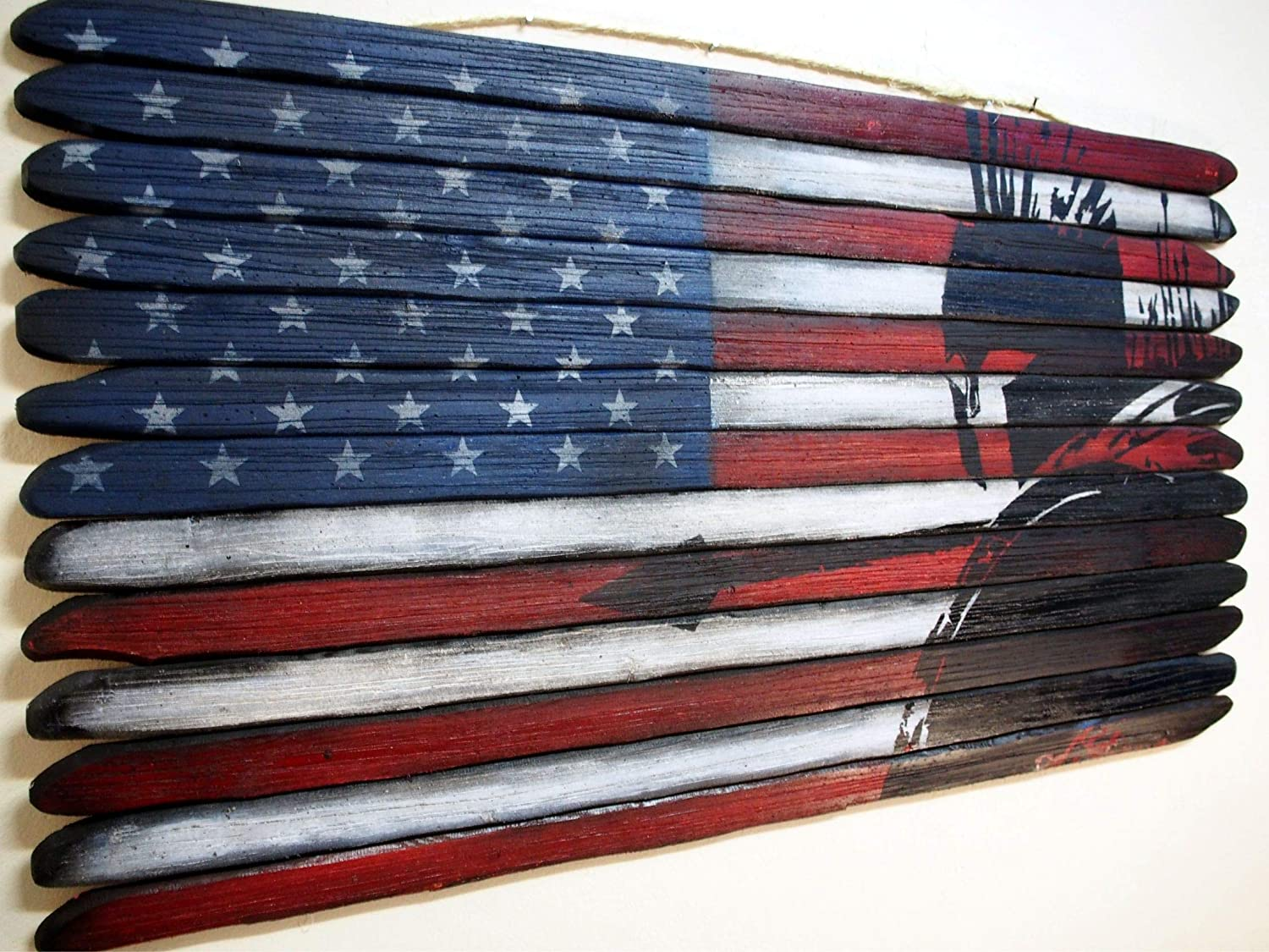 American Flag featuring a Spartan Warrior, Painted by Hand on Thirteen Pieces of Aged Solid Wood, Optional Personalization