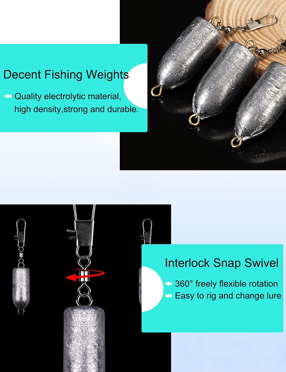 Avlcoaky Fishing Weights Sinkers with Interlock Swivel Snap Freshwater Saltwater Trolling Fishing Tackle