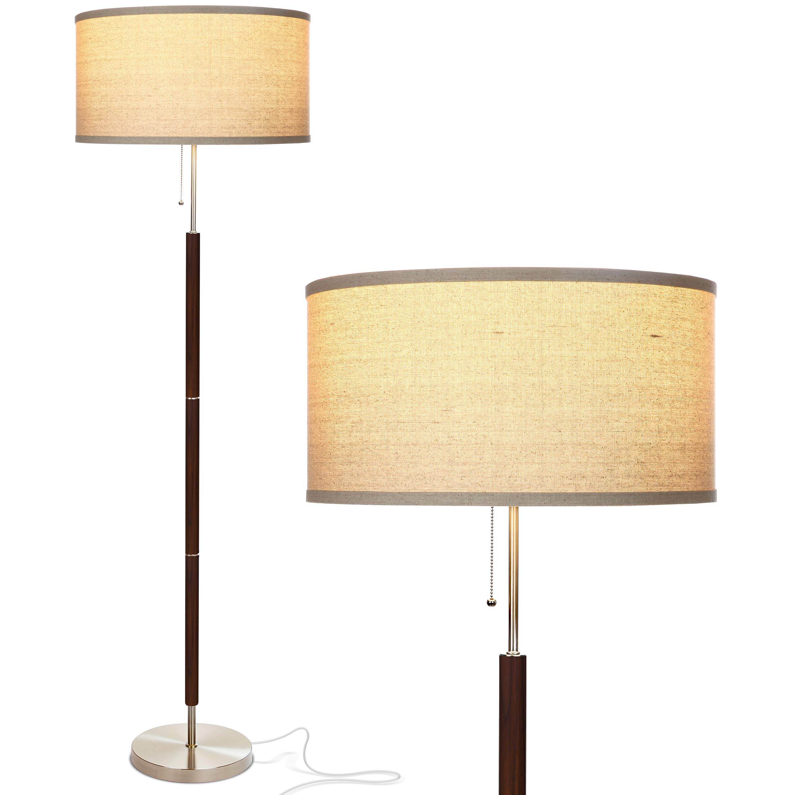 Brightech Carter LED Mid Century Modern Floor Lamp - Contemporary Living Room Standing Light - Tall Pole, Drum Shade Lamp with Walnut Wood Finish by Brightech