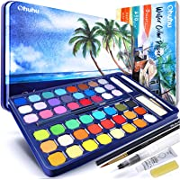 Watercolour Paint Set with Watercolour Paper, Ohuhu All-in-One Watercolor Set with Premium 48-Color Palette, Water Brush…