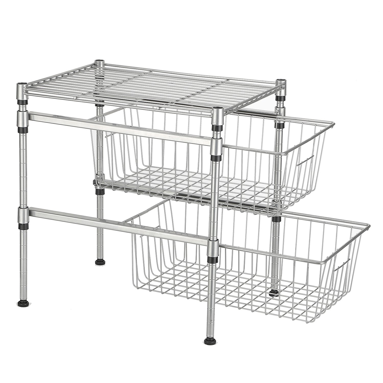 GEYUEYA Home 2-Tier Heavy Under Sink Cabinet Sliding Basket Organizer Drawer Expandable Shelf