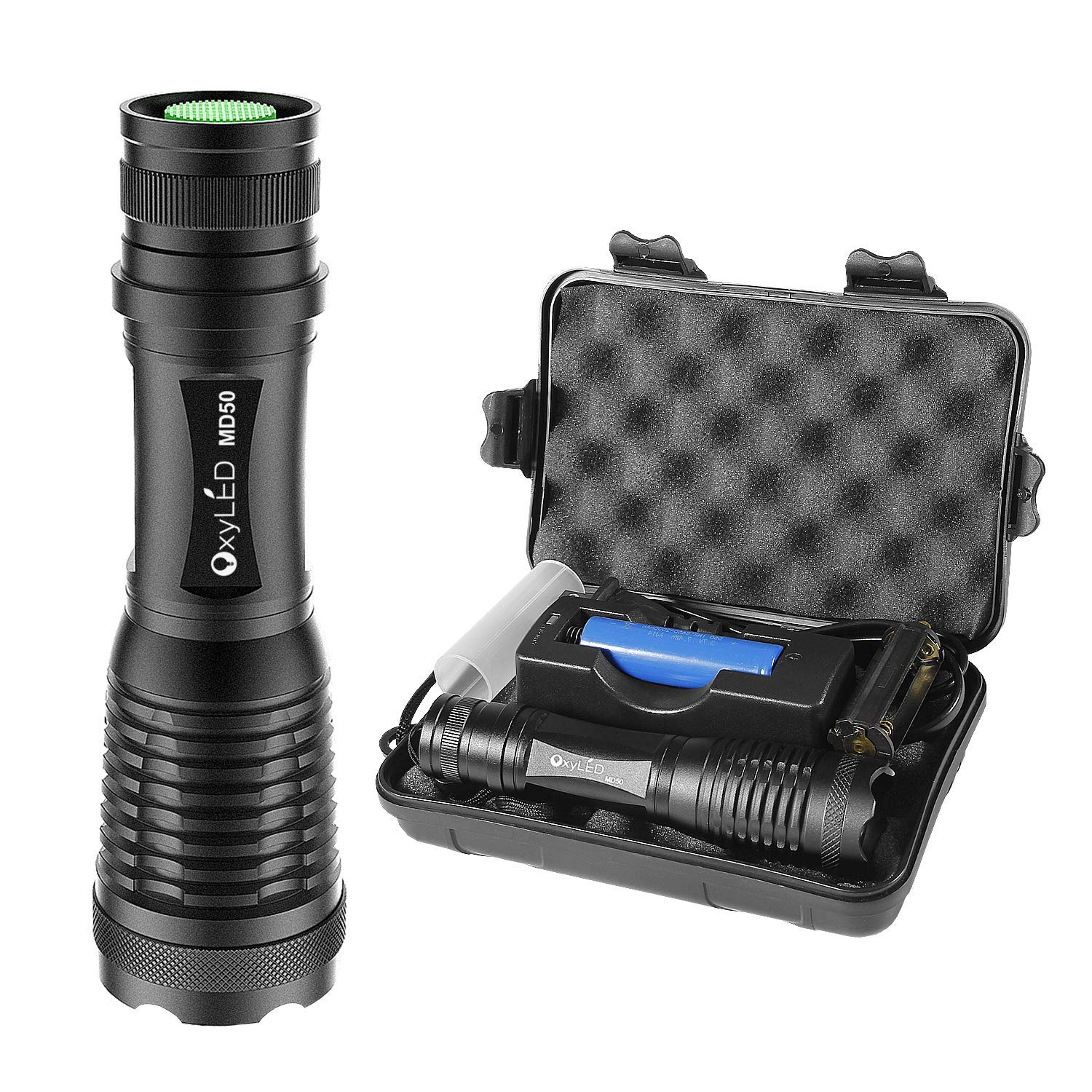 [Rechargeable] LED Tactical Flashlight, OxyLED Super Bright 900 Lumens CREE T6 LED Torch, 18650 Battery Included, IPX-6 Water Resistant, Zoomable, 5 Light Modes for Camping Hiking and Emergency Use