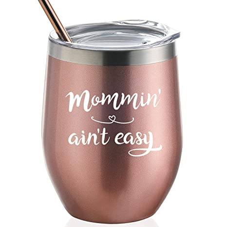 Mommin' Ain't Easy Wine Tumbler With Lid & Straw