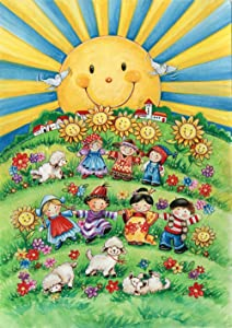 Toland Home Garden It's a Small World 12.5 x 18 Inch Decorative Colorful International Children Play Fun Sunshine Garden Flag