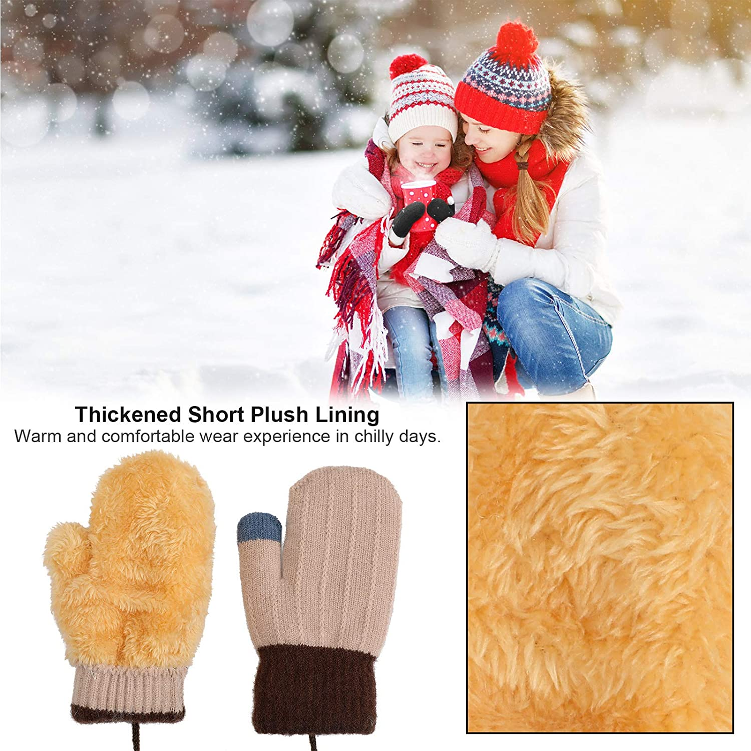 Full Finger Winter Warm Kids Gloves Lined Fleece Thermal Mittens for 1~3 Years Old Baby Girls Boys QKURT 3 Pairs Toddler Mittens