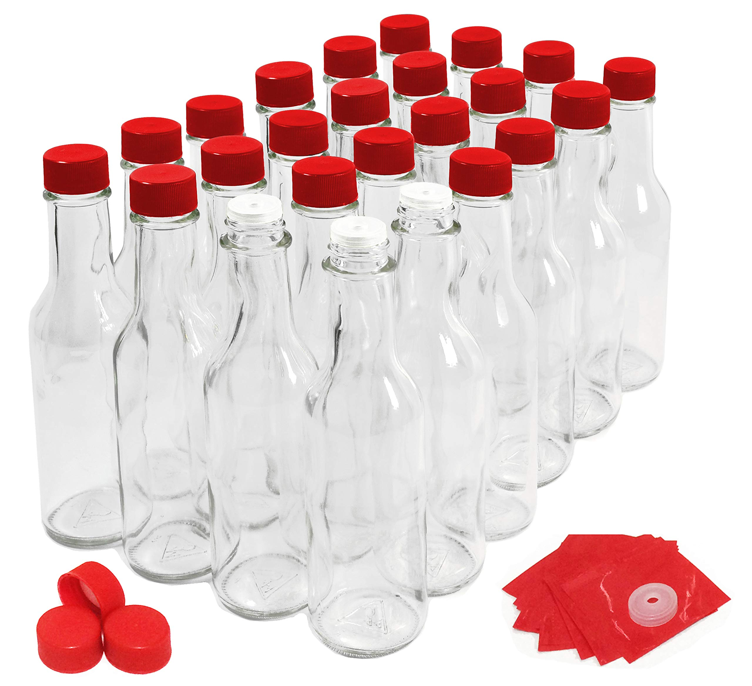 Hot Sauce Bottles with Red Caps & Shrink Bands, 5 Oz - Case of 24 by nicebottles