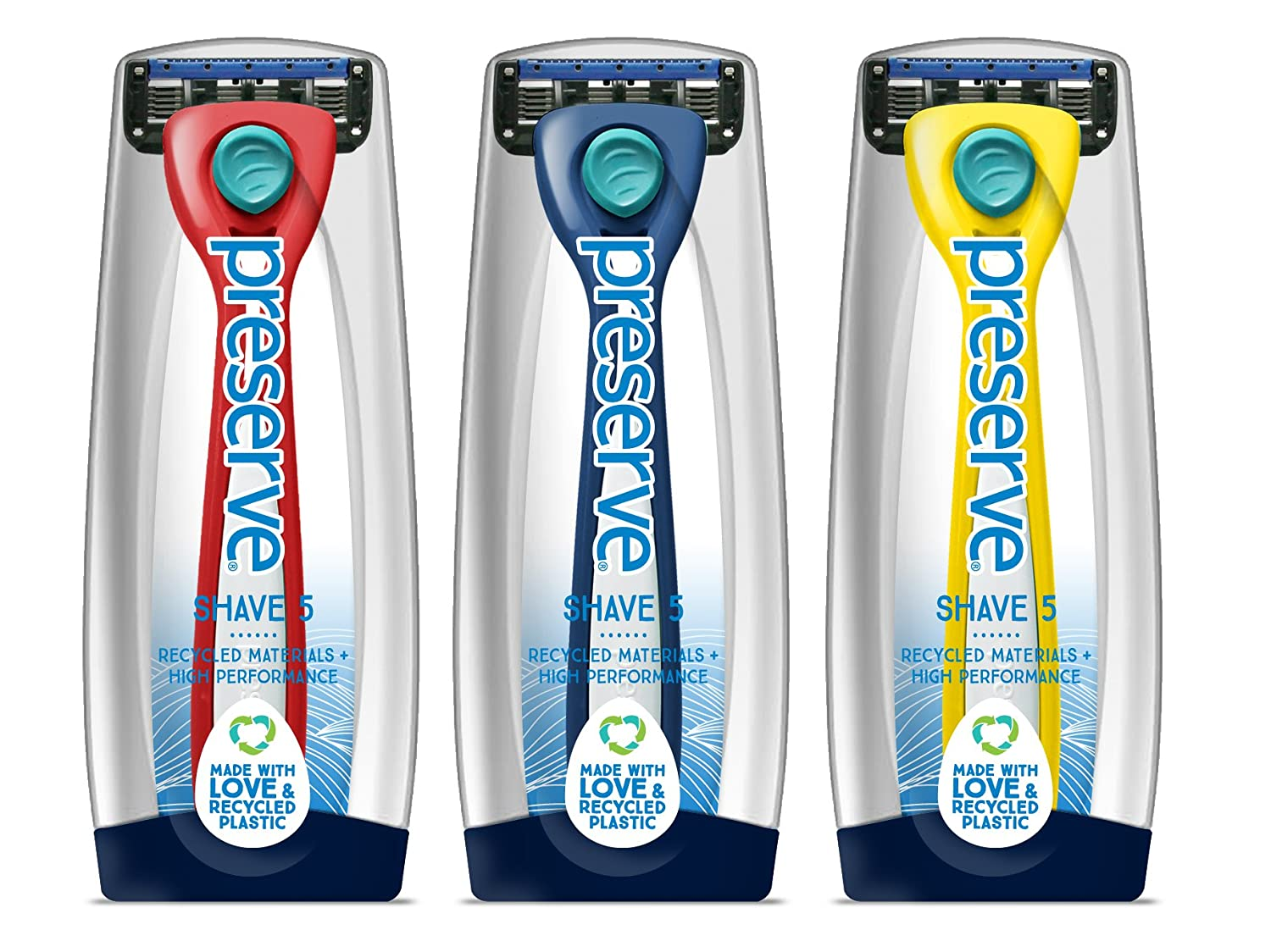 Preserve Shave 5 Five Blade Refillable Razor, Made from Recycled Materials, Assorted Colors: Red/Blue/Yellow (Color May Vary) Recycline Inc.