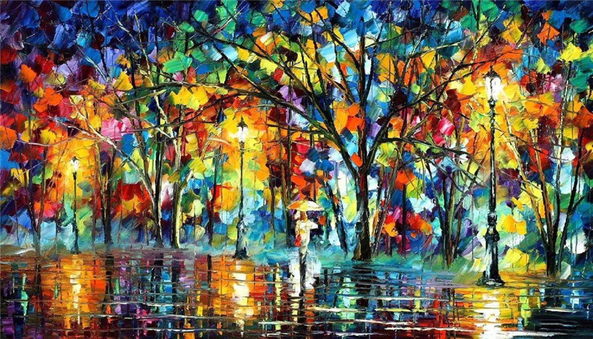 100% Hand Painted Oil Paintings Modern Abstract Oil Painting on Canvas Umbrella in the Rain Home Wall Decor (36X65 Inch, Oil Painting 3)