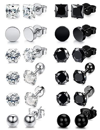 Amazon.com: Besteel - 12 pares de pendientes de acero ...