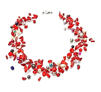 TreasureBay Stunning Multi-strands Red Coral Chips and Natural Freshwater Pearl Necklace - Presented in a beautiful jewellery gift box yDSnOKB