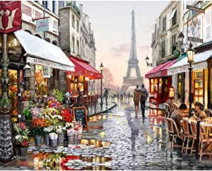Europe City Street DIY Painting By Numbers Home Decoration Handpainted Abstract Oil Painting For Living Room Artwork 16x20 Inch