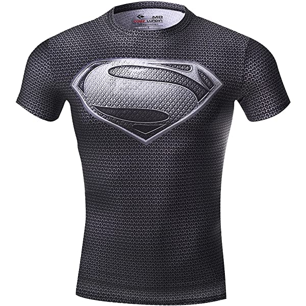 Cody Lundin Chaleco Deportiva Ajustada de Manga Corta para Hombre Super Hero Series Super Fitness Tops para Hombre