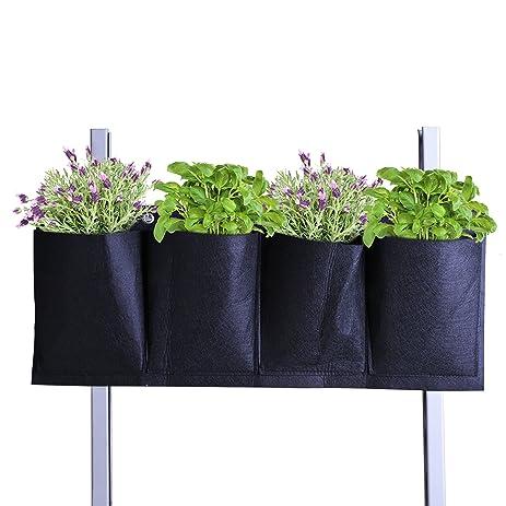 Kloud City Wall Garden Planter Horizontal 4 Pockets Wall Mounted Planter  Hanging Growing Bag For