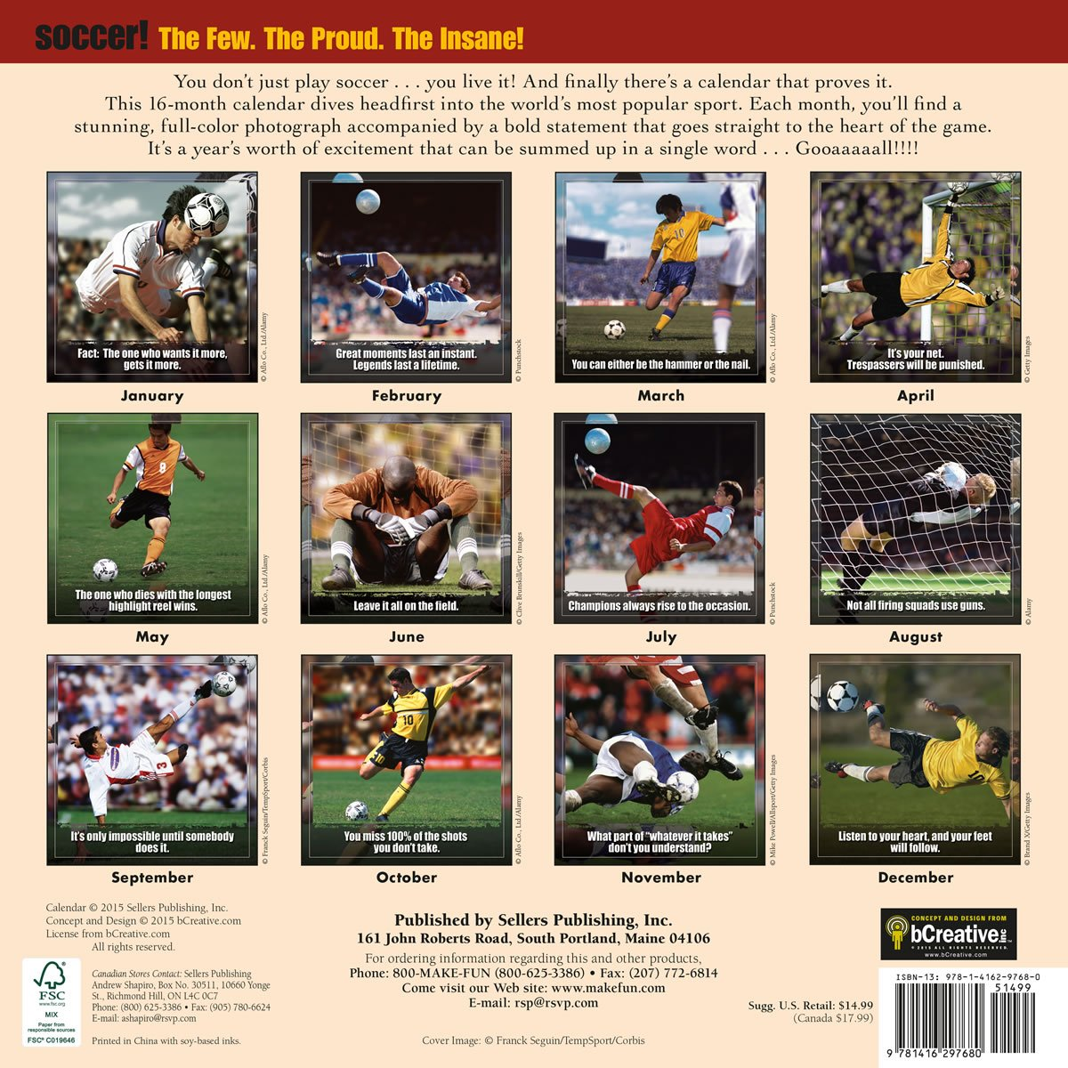 Soccer: The Original Extreme Sport 2016 Wall Calendar: bCreative:  9781416297680: Amazon.com: Books