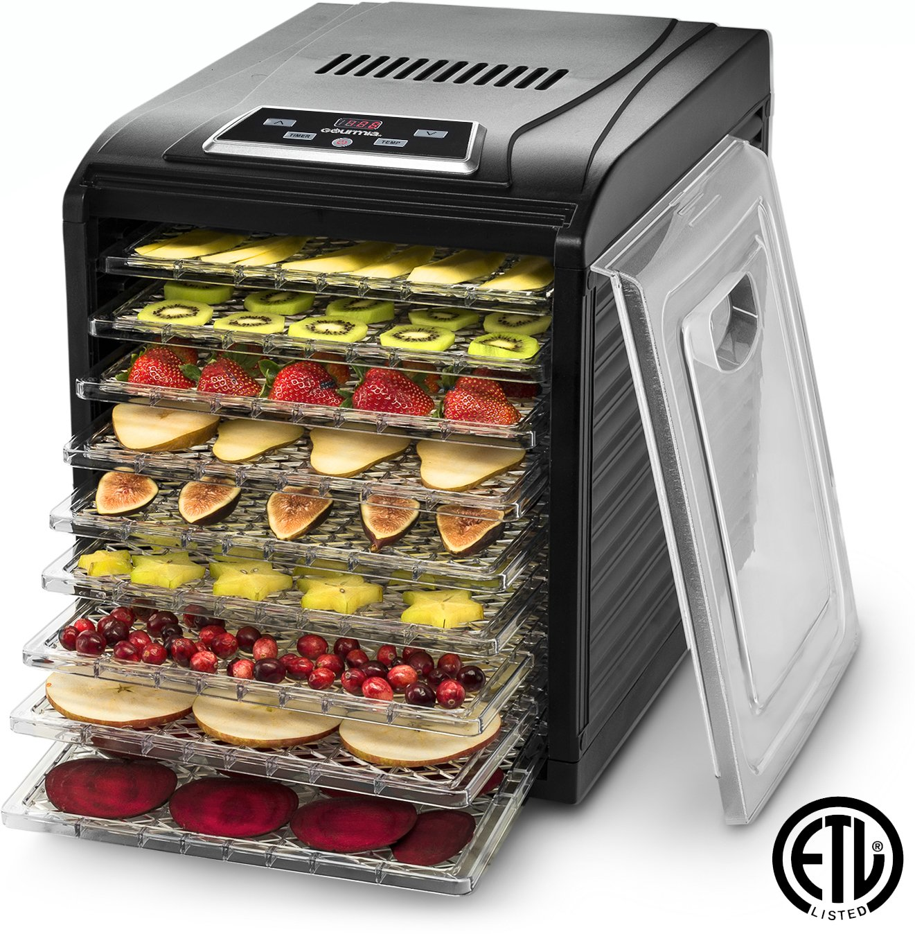 Gourmia GFD1950 Digital Food Dehydrator - 9 Drying Trays Plus Fruit Leather Tray - Digital Temperature Control - Transparent Window - 600W - Black - Free Recipe Book
