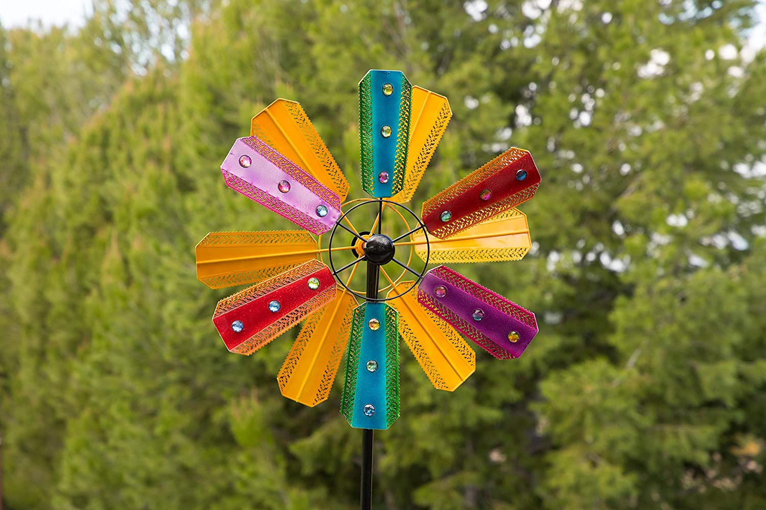Alpine BVF234 Kinetic Wind Spinner Garden Stake w/Gems, 86 Inch Tall Multi-Color