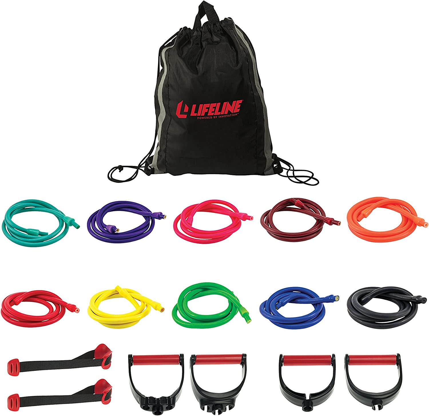 Lifeline Resistance Trainer Kit with 10lb to 100lb Adjustable Resistance Level Bands for More Workout Options Includes Triple Grip Handles, Door Anchor, 5ft Exercise Tubes and Carry Bag