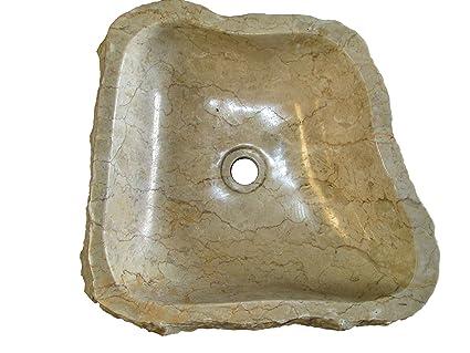 N3 43x45 17 Lavandino in pietra di marmo indonesiano per bagno ovale ...