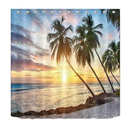 LB Ocean Shower Curtain KidsTropical Palm Trees On Island Beach Scene View Picture