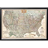 Framed Executive US Push Pin Travel Map 24x36 in Matte Black Finish Wood Frame with Push Pins (Produced by National Geographic)