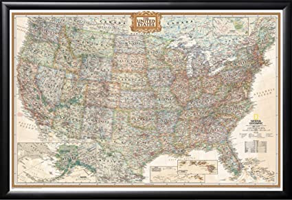 amazon com framed executive us push pin travel map 24x36 in matte