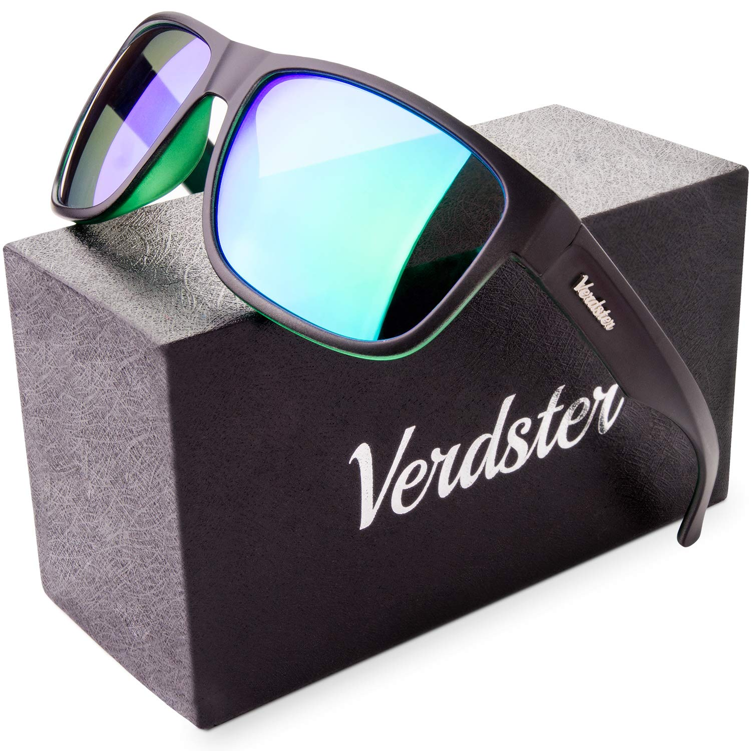 Verdster Mirrored Polarized Sunglasses for Men & Women - Trendy & Stylish Black Shades - Comes With Hardcase & Accessories