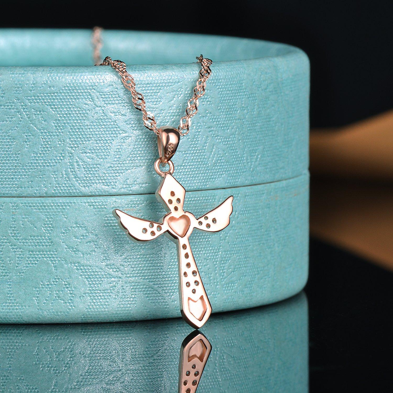 Yumilok Jewelry Collier et pendentif femme fille en argent 925 la croix classique et laile mignonne orn/é zircon