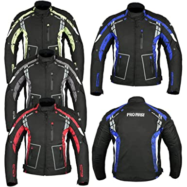 c8bbe89612e Waterproof All Weather Motorbike Jacket Coat Motorcycle Gears in Cordura  Fabric and CE Approved Armour -