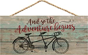 P. Graham Dunn Adventure Begins Tandem Bicycle Distressed 10 x 4.5 Wood Wall Hanging Plaque Sign