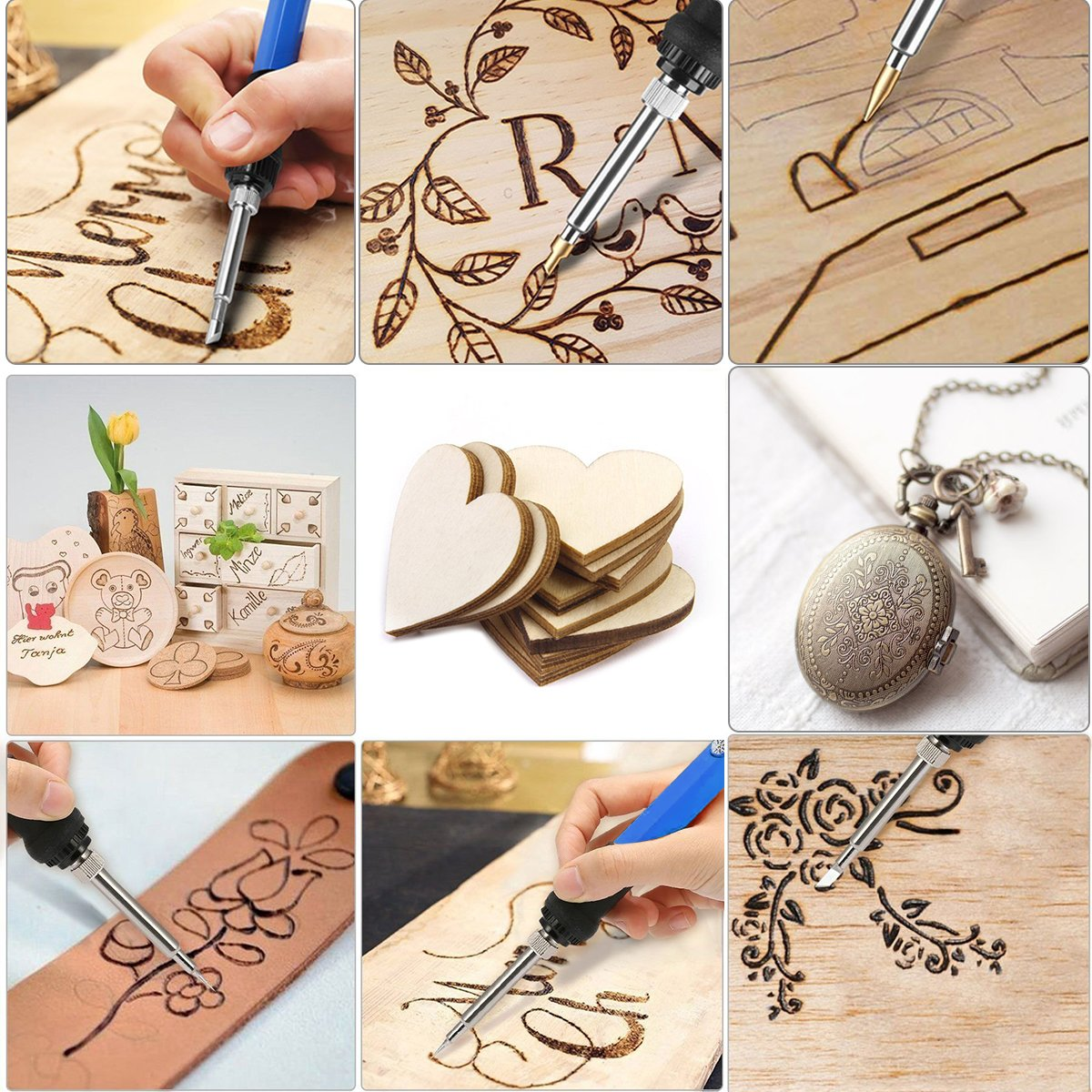 Preciva 37PCS Pyrography Iron Kit Wood Craft Tool Set Wood Burning Pen for Carving Wood Burning Kit
