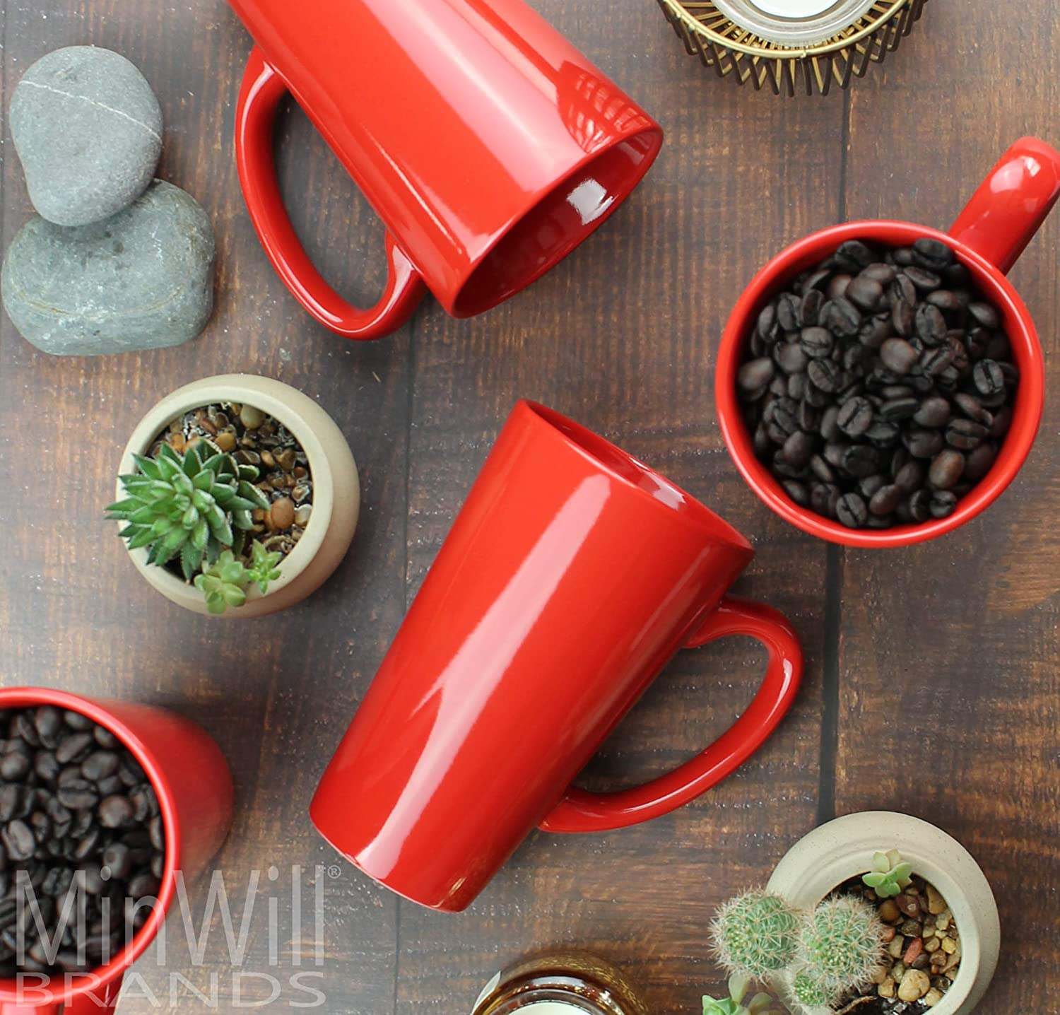 16 Ounce MinWill Brands Ceramic Tall Funnel Cup Coffee Mugs with Pan Scraper Red, 4-Pack