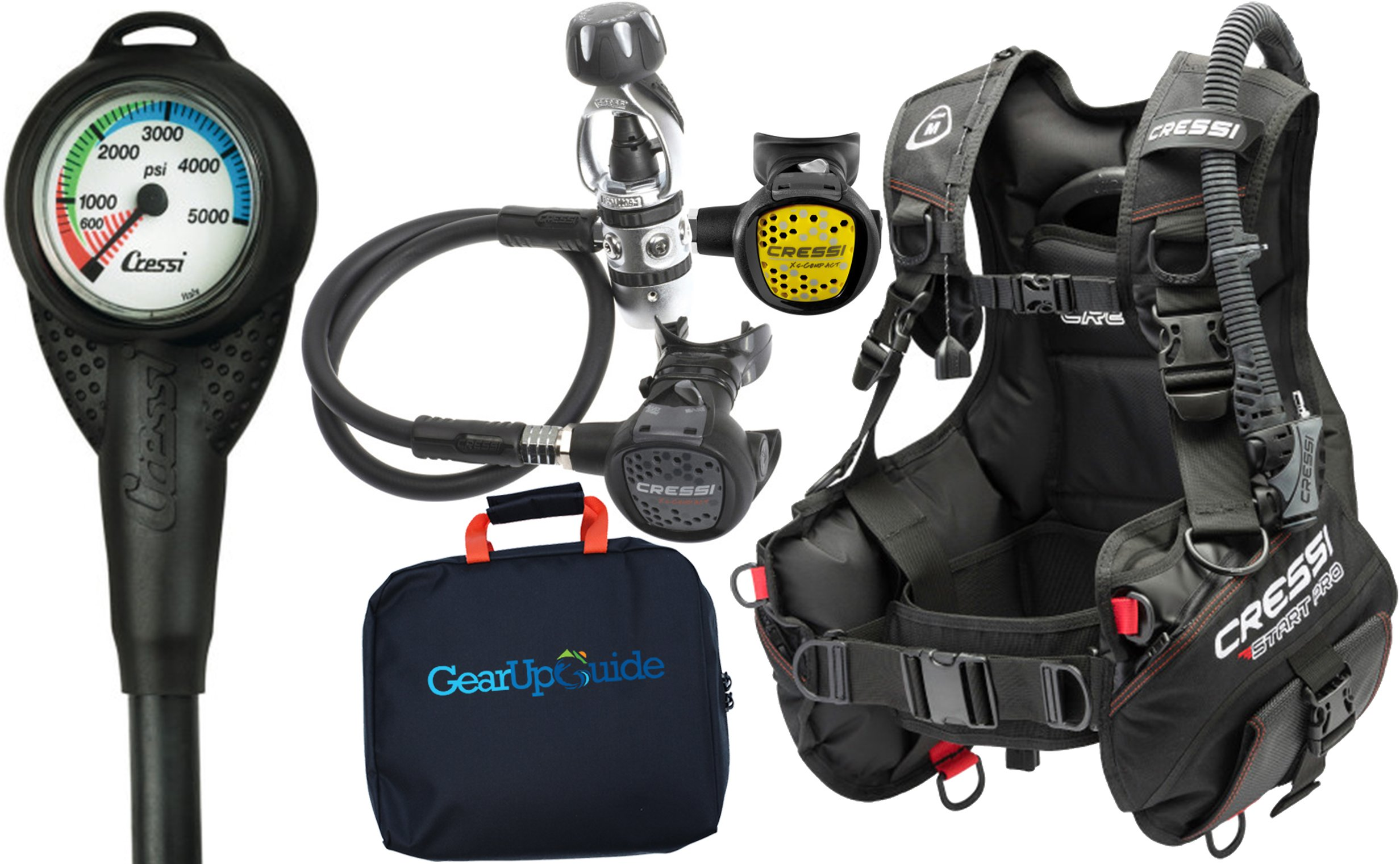 Cressi Start Pro 2.0 Scuba Diving Gear Package Assembled GUpG Reg Bag, Mini SPG MD by Cressi