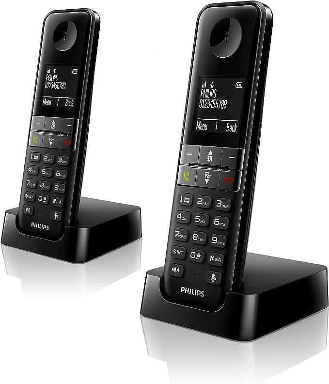 Philips D4502B - Teléfono Inalámbrico Dect Duo (Manos Libres, Pantalla 4.6 cm), Negro: Amazon.es: Electrónica
