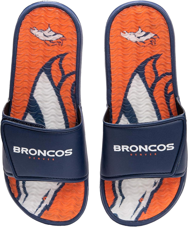 FOCO NFL Denver Broncos Mens Sport Shower Gel Slide Flip Flop SandalsSport Shower Gel Slide Flip Flop Sandals, Wordmark, Large (11-12) (FFSSNFCBBLGGEL) : Clothing