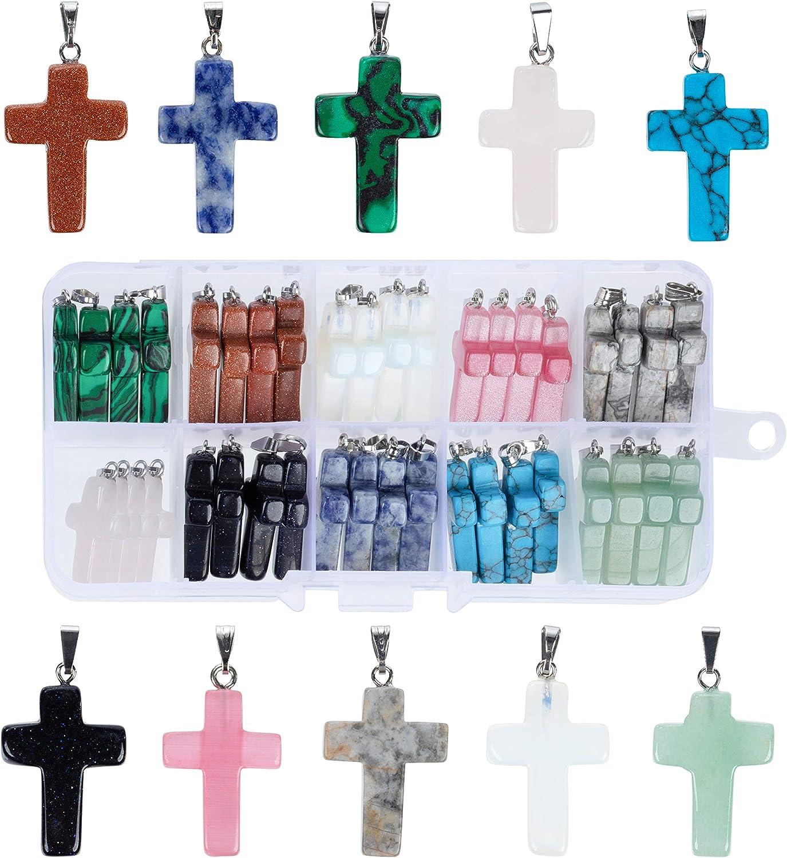 Colgantes de cruz – 40 piezas colgantes de cruz de piedra para hacer joyas, 10 colores, colgantes de cruz de piedras preciosas para manualidades, collares, pulseras, llaveros