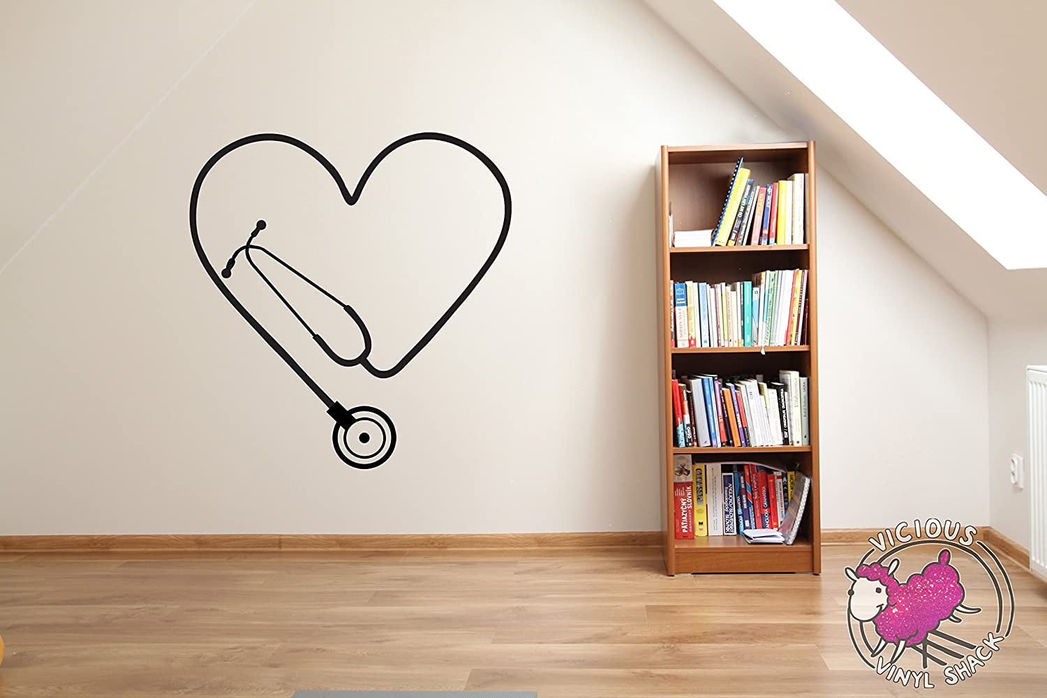 Personalized Stethoscope and heart vinyl decal doctor nurse hospital