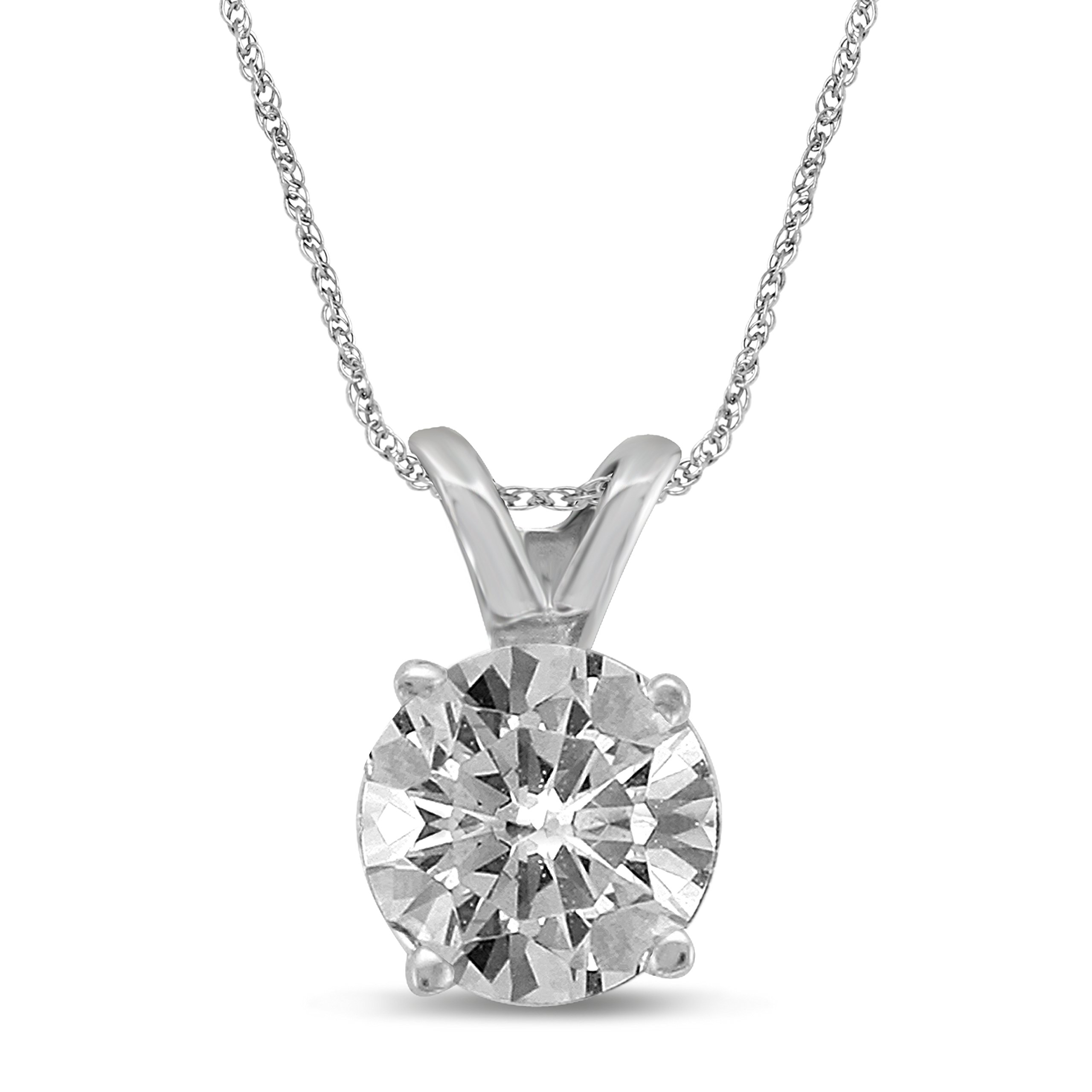 Diamond Jewel 14K White Gold 1/2 cttw Diamond Solitaire Pendant Necklace