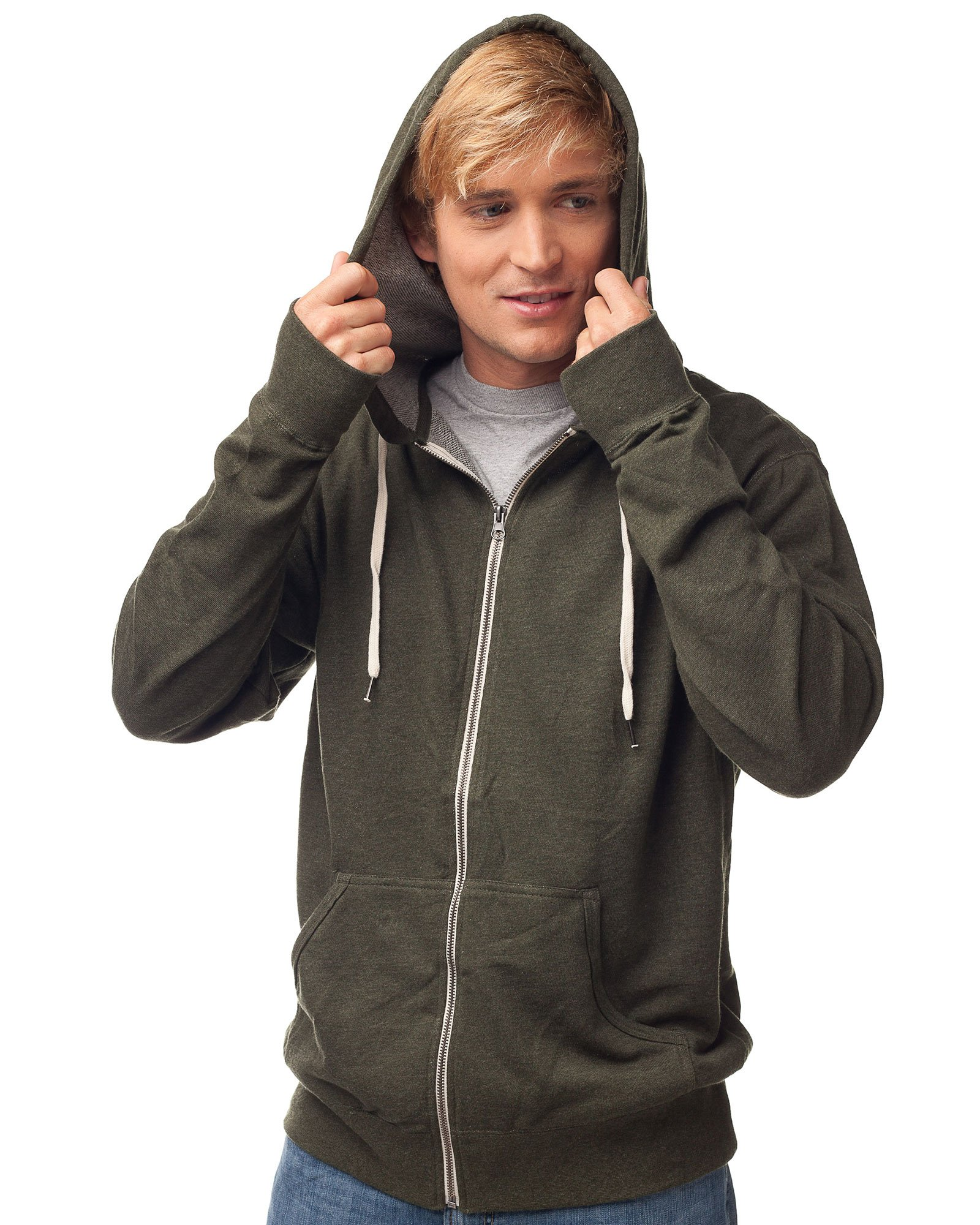 Global Blank Slim Fit French Terry Lightweight Zip Up Hoodie for Men and Women XS Dark Green