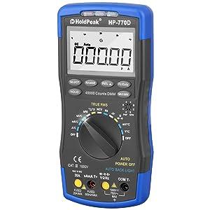 Holdpeak 770D multímetro digital de alto rendimiento con temperatura, frecuencia y función de guardado de datos, ampliamente utilizado en casa, escuela, industrias químicas etc.